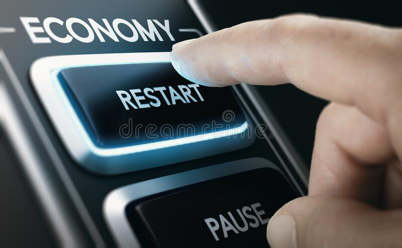 Disaster recovery. Restarting national economies after crisis stock photos