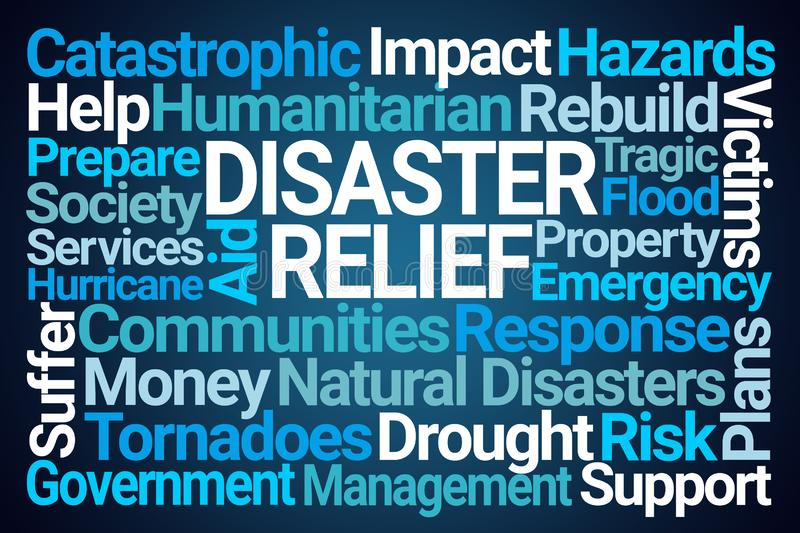 Disaster Relief Word Cloud stock illustration