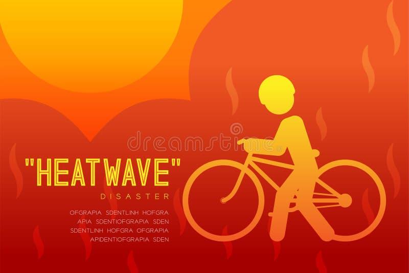 Disastro di onda di calore del pittogramma dell'icona dell'uomo con l'illustrazione infographic di progettazione della bicicletta illustrazione di stock