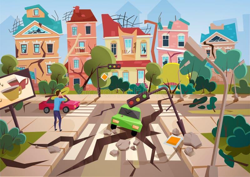 Disastro di terremoto con le crepe a terra realistiche e la piccola progettazione distrutta dell'illustrazione di vettore delle c illustrazione vettoriale