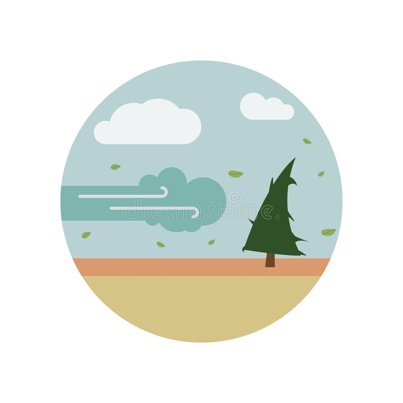disastro, raffica, uragano, icona di colore dell'albero Elemento dell'illustrazione di riscaldamento globale Icona premio di prog royalty illustrazione gratis