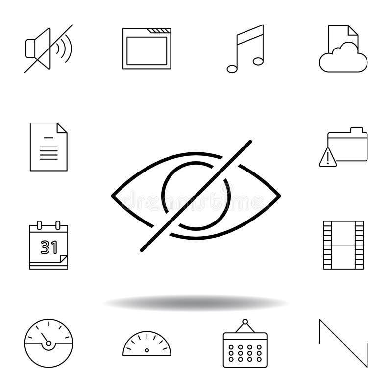 Disattivi l'icona del profilo del pellame dell'occhio Insieme dettagliato delle icone delle illustrazioni di multimedia del unigr royalty illustrazione gratis
