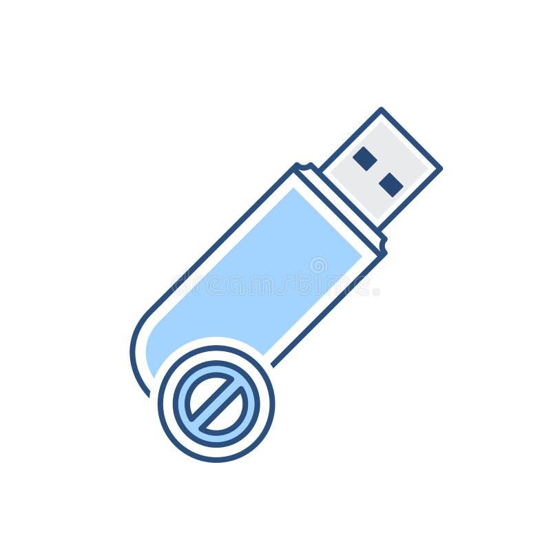 Disattivi l'icona pendrive del usb di stoccaggio di errore dell'unità disco royalty illustrazione gratis
