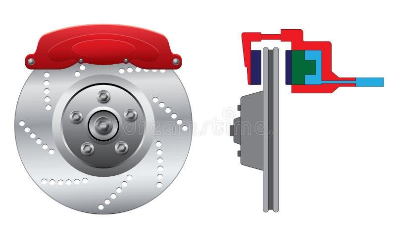Disc brake with caliper stock illustration