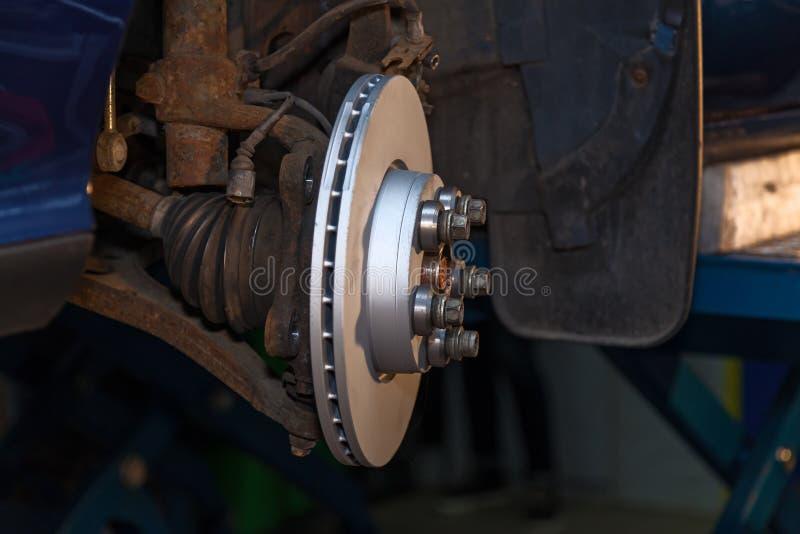 Disc brake in the car. Disc brake in the car close-up on the side. Disc brake in the car stock photography
