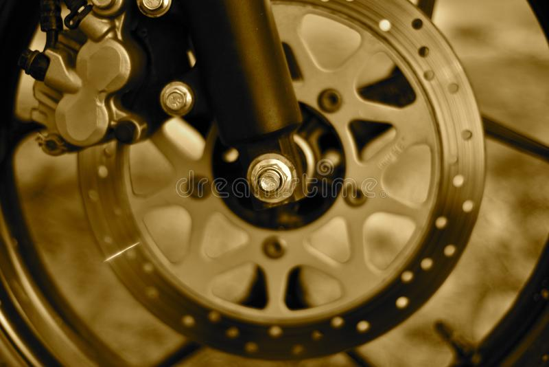Disc brake of a motor bike object photograph stock photos