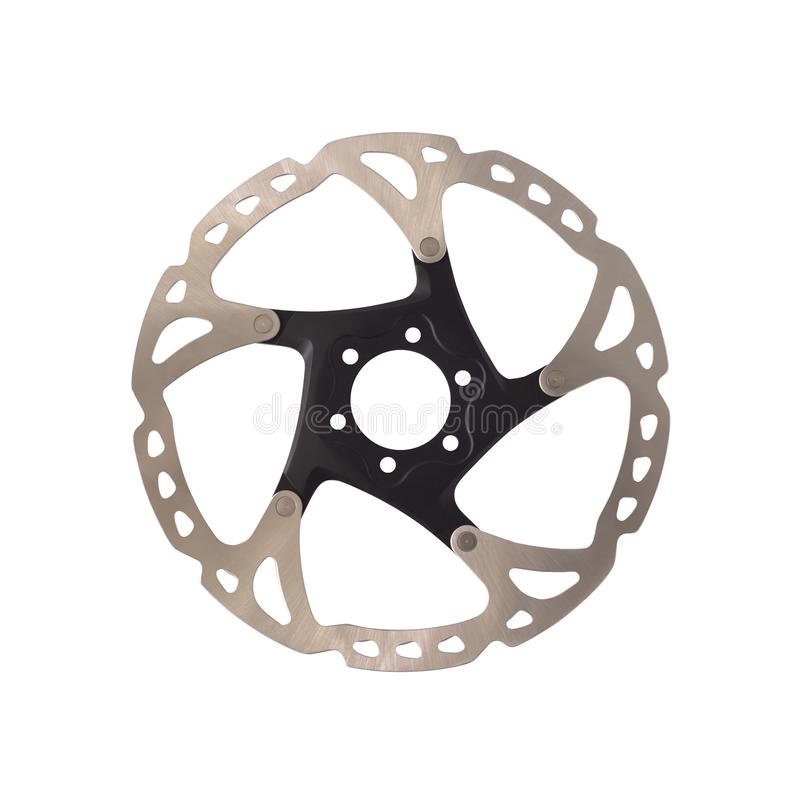 Disc brake rotor for mountain bikes isolated. On white background. Bicycles equipment stock images