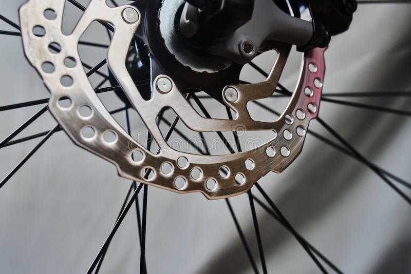 Disc brake of the sport bike stock photos
