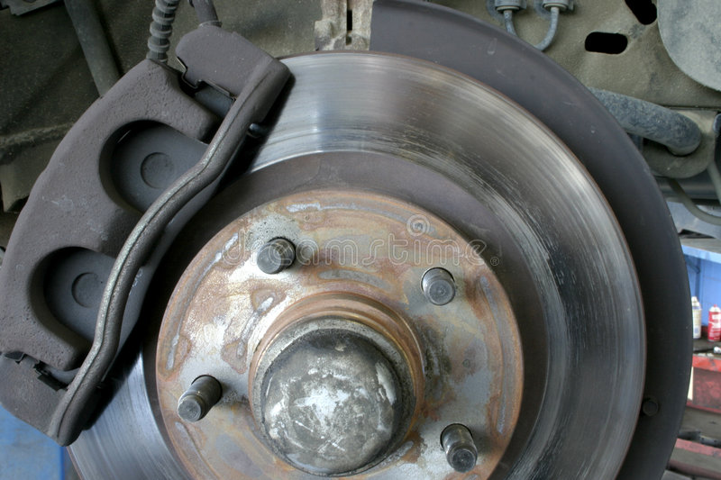 Disc brakes. Front disc brakes on a light truck stock photos