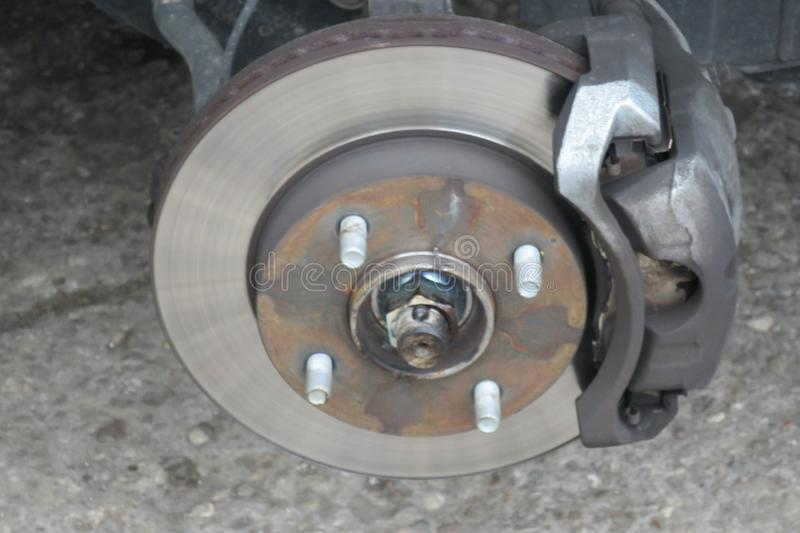 Disc and brakes of a car royalty free stock photos
