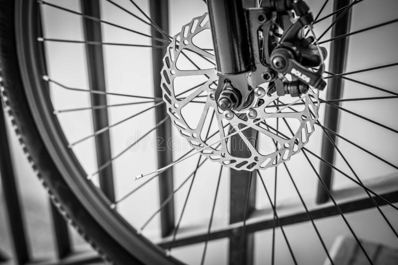 Disc brakes. In focus black and white royalty free stock photo