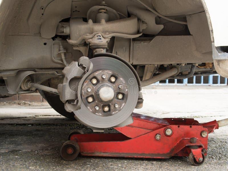 Disc break in maintenance. Wheel and disc break in maintenance process stock photography