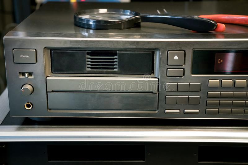 Disc changer used to play cds and dvds stock photography
