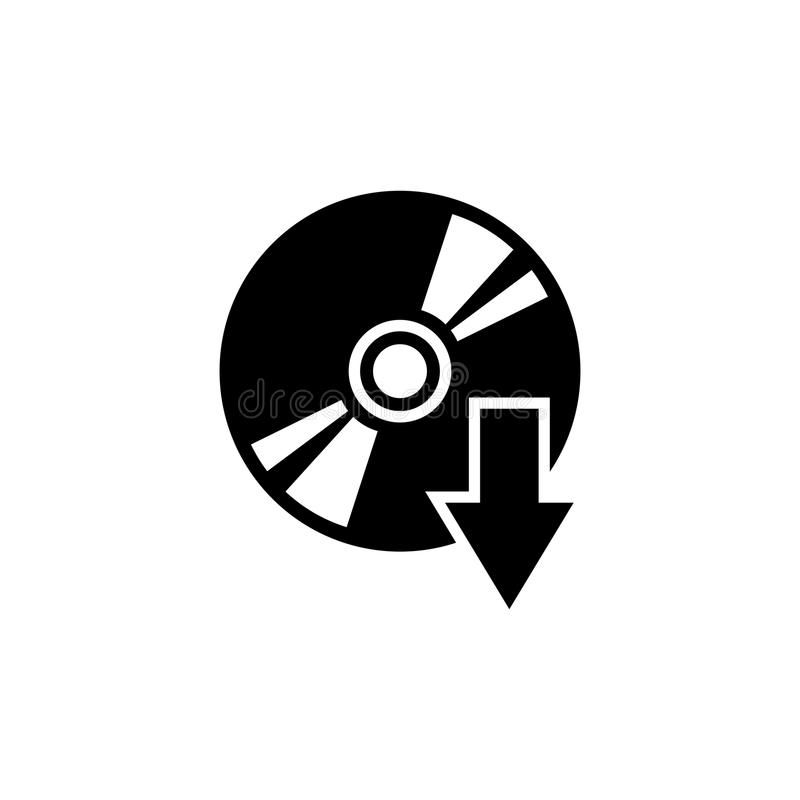 Disc Eject, CD DVD Flat Vector Icon royalty free illustration