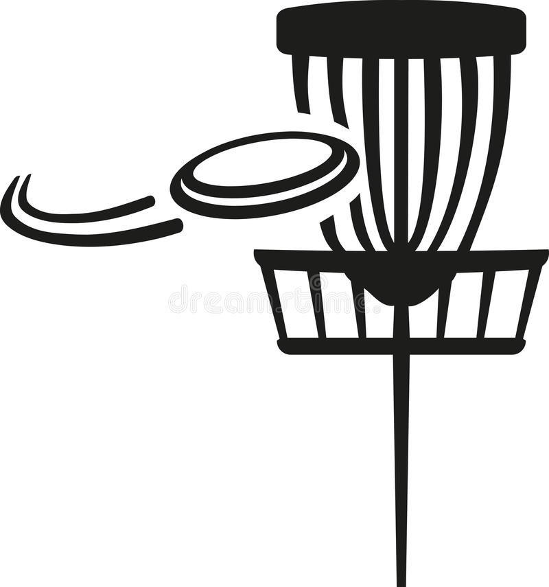 Free Disc Golf Basket With Flying Frisbee Stock Images - 85850194