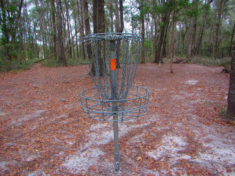 Disc golf or frisbee golf `hole` or metal basket royalty free stock photos