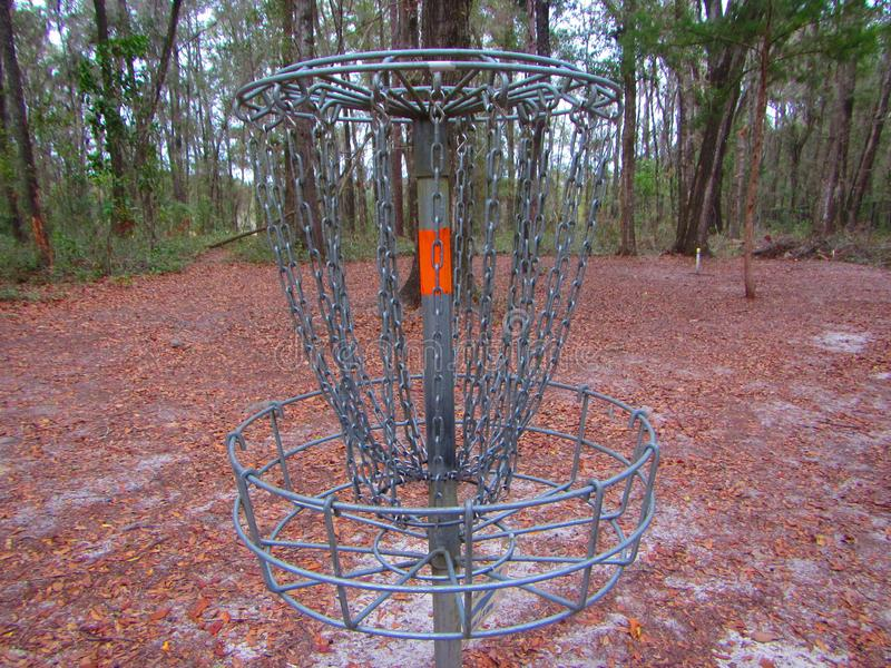 Disc golf or frisbee golf `hole` or metal basket royalty free stock image