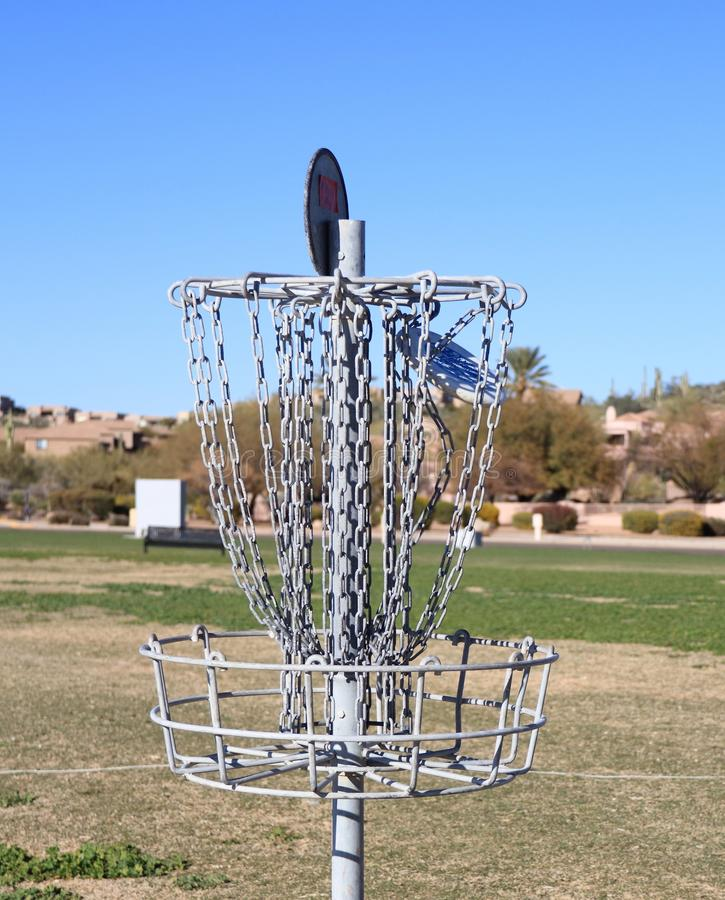 Download USA: Disc Golf - A Disc Hits The Disc Catcher Royalty Free Stock Image - Image: 29529356