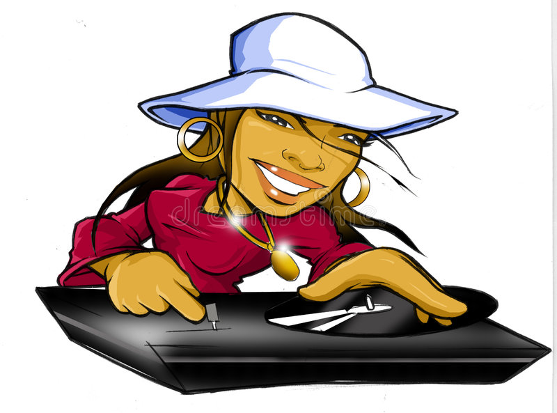 Disc-jockey de fille du DJ Hip Hop de femelle photographie stock libre de droits