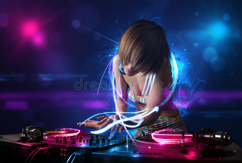 Disc jockey playing music with electro light effects and lights. Beautiful disc jockey playing music with electro light effects and lights stock illustration
