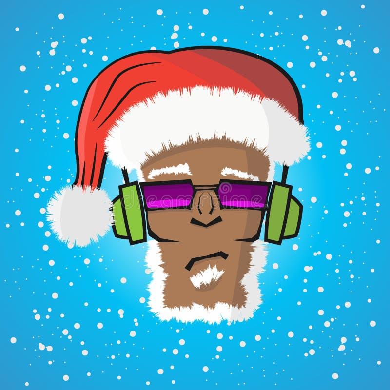 Disc jockey Santa Claus in un cappello ed in una cuffia royalty illustrazione gratis