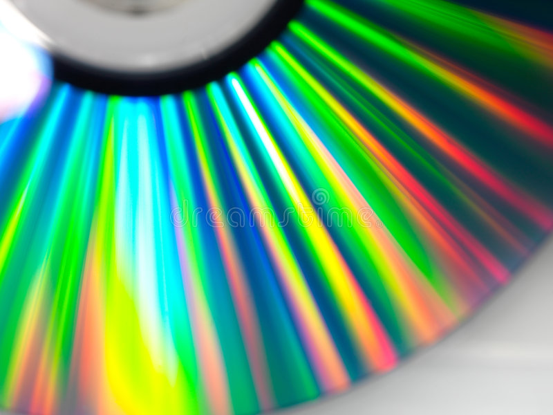 Disc rays. DVD disc with beauteful rays covered them stock photo