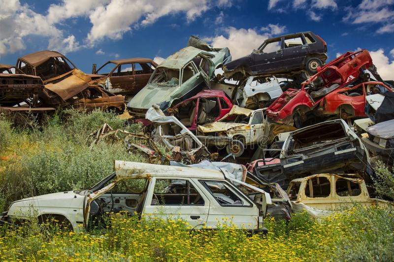 Discarded cars on junkyard stock image