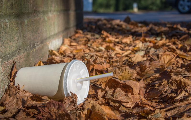 Discarded soda cup with straw lies in fallen leaves at the base of a wall. Discarded soda cup with straw lies in fallen leaves at the base of a brick wall by the royalty free stock photo