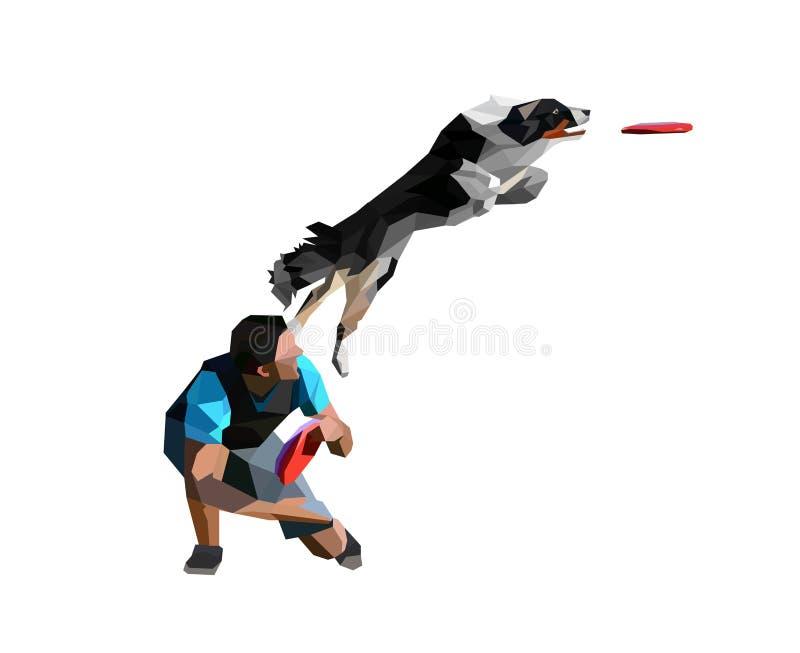 Discdogger的低多例证和真正看的狗跳跃和传染性的圆盘 拿来在白色Backgroun的博德牧羊犬圆盘 向量例证