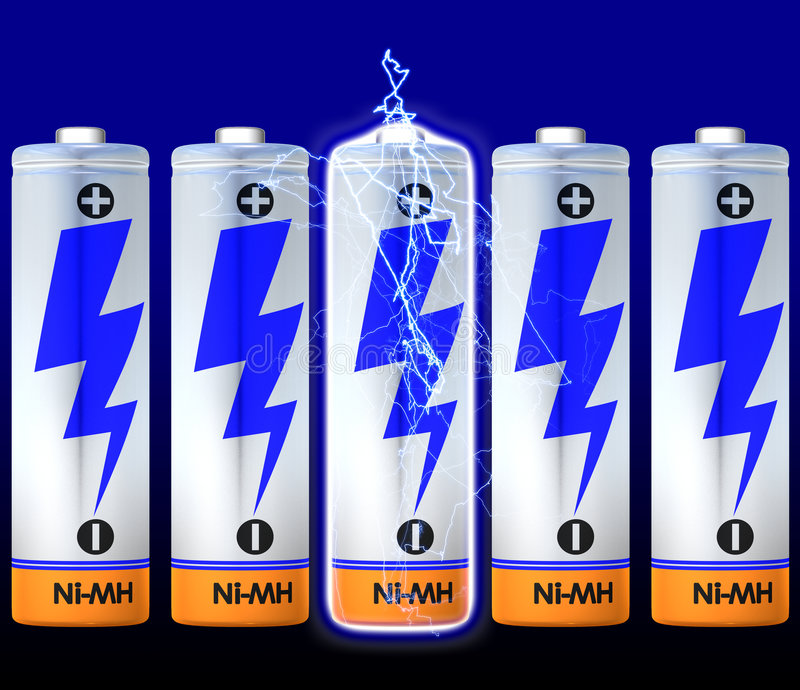 Discharge. Of a battery cell. Lot's of batteries royalty free illustration