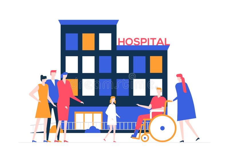 Discharge from the hospital - colorful flat design style illustration. On white background. A composition with a young man, patient with a broken leg in a vector illustration