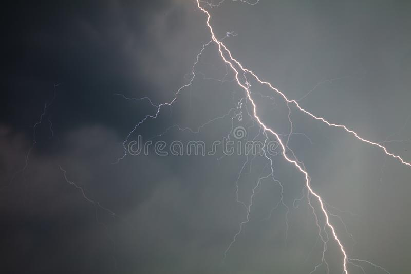 The discharge of lightning in the sky as a background royalty free stock photography