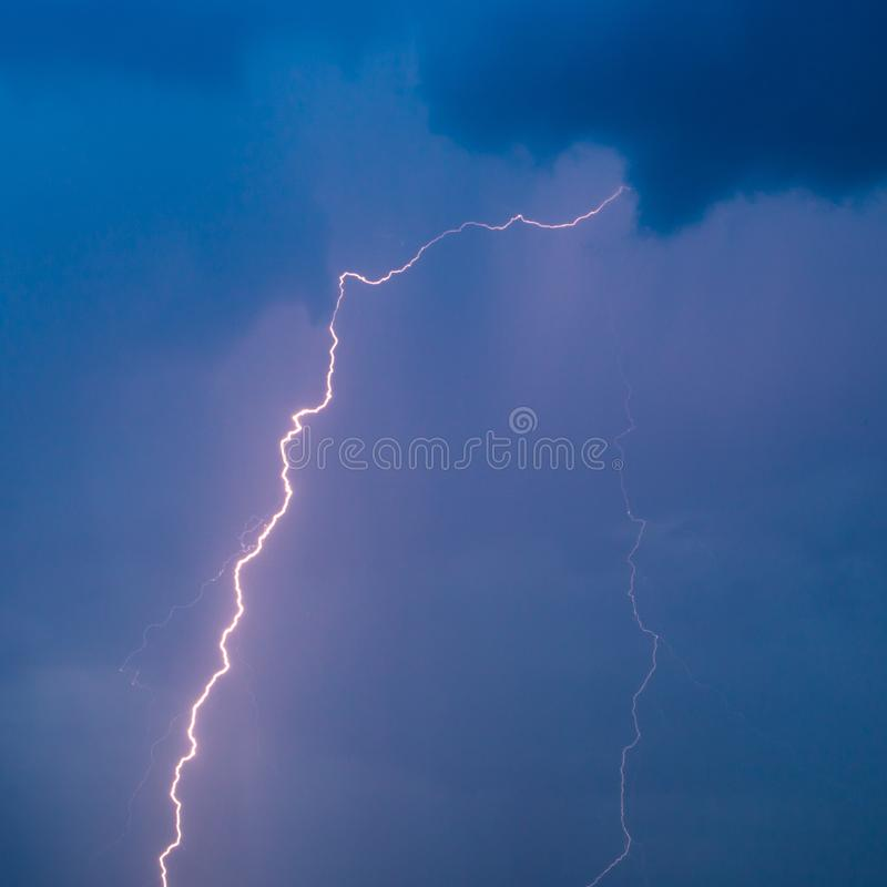 The discharge of lightning in the sky as a background royalty free stock images