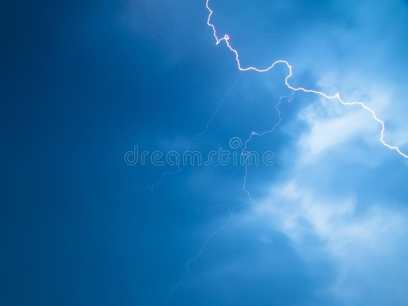 The discharge of lightning in the sky as a background stock photos