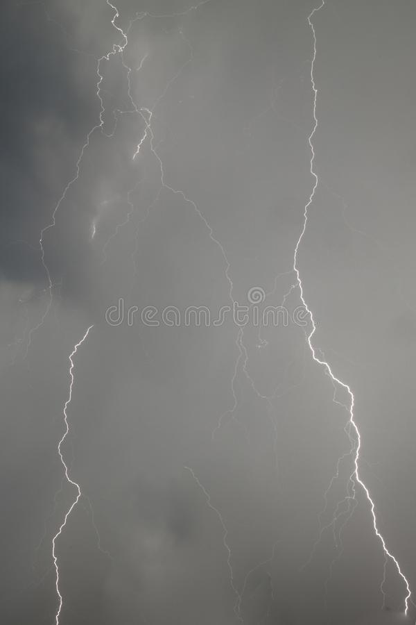 The discharge of lightning in the sky as a background royalty free stock image