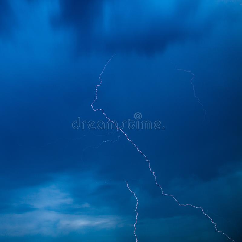 The discharge of lightning in the sky as a background royalty free stock photos