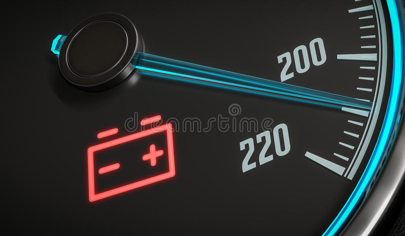 Discharged battery warning light in car dashboard. 3D rendered illustration.  vector illustration
