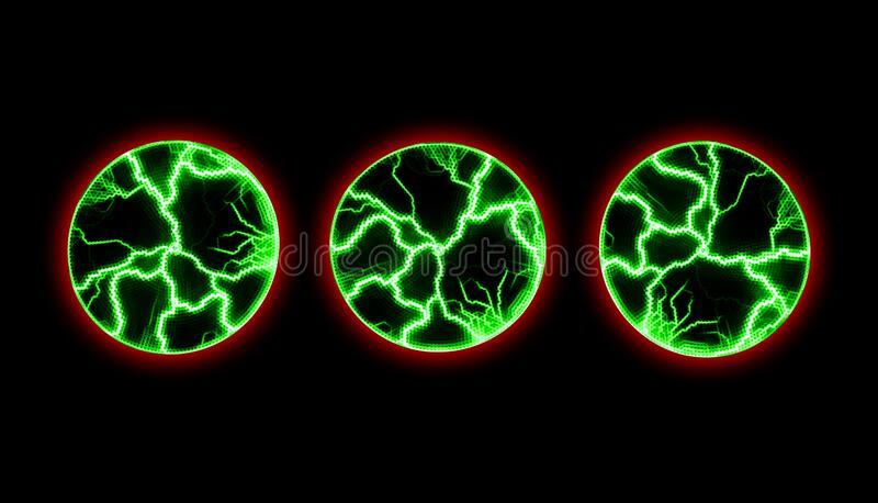 Discharges of green lightning in three areas. Glowing effect from electricity. Magical and mystical background. The chaotic. Movement of colored electric waves stock photos