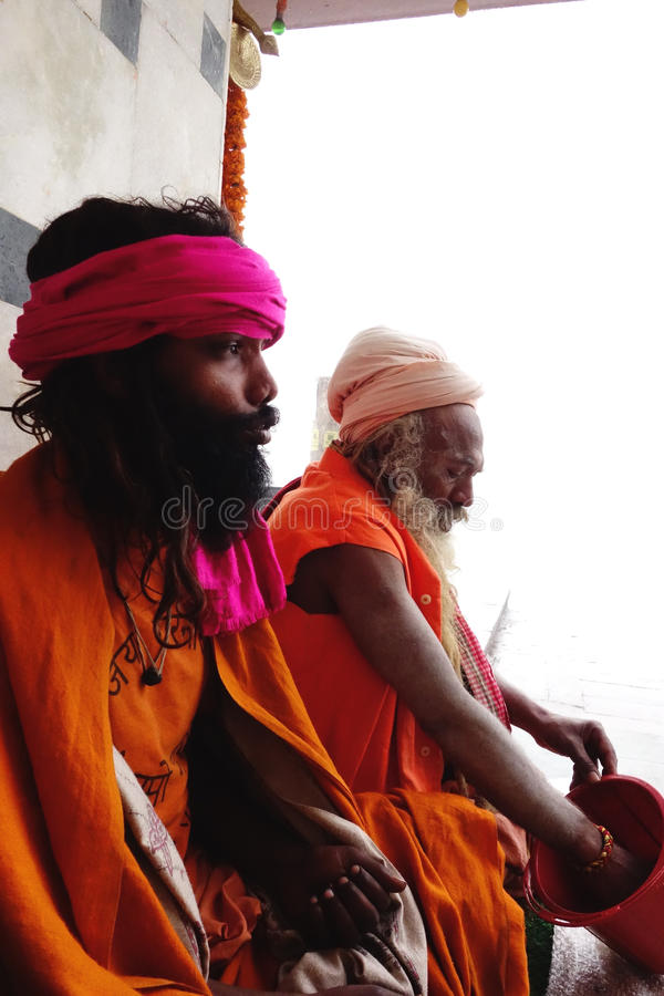 Disciple and Guru. This is a portrait of two sadhus in Varanasi, India royalty free stock photo