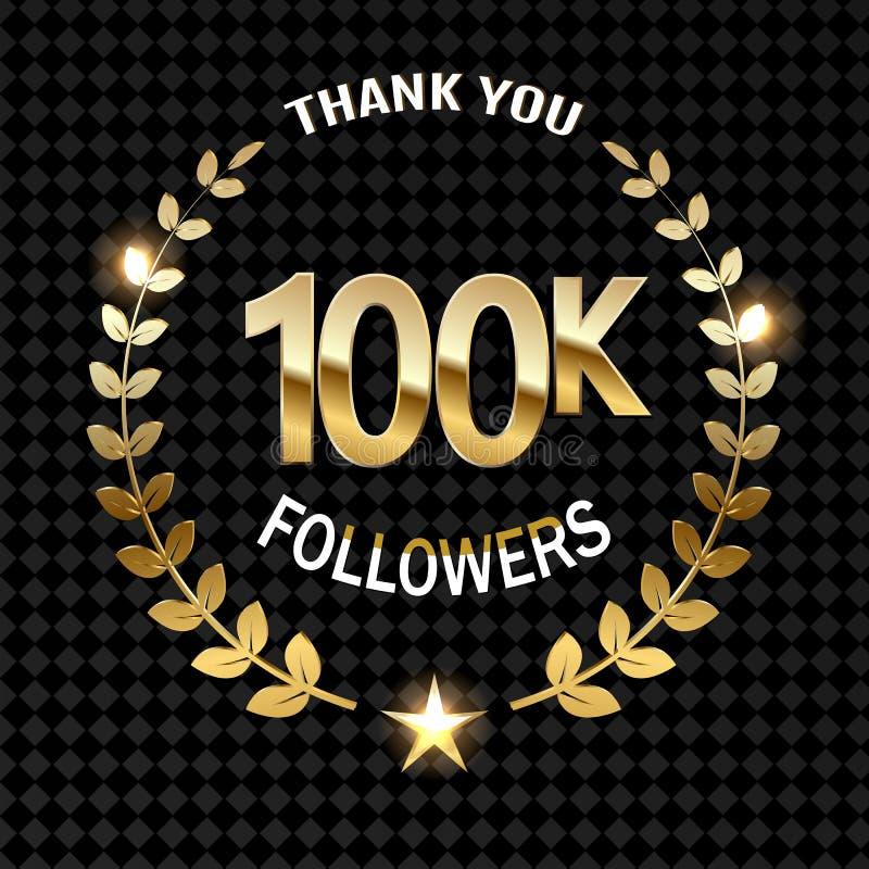 100000 disciples remercient l'illustration d'or sur transparent illustration de vecteur
