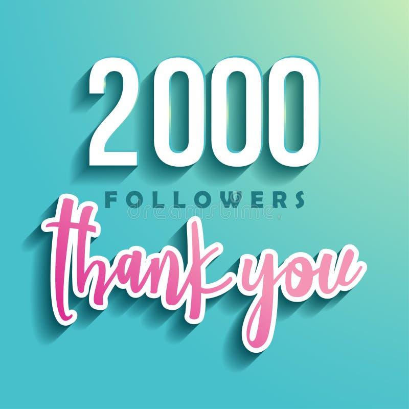2000 disciples vous remercient - illustration pour les amis sociaux de réseau illustration de vecteur
