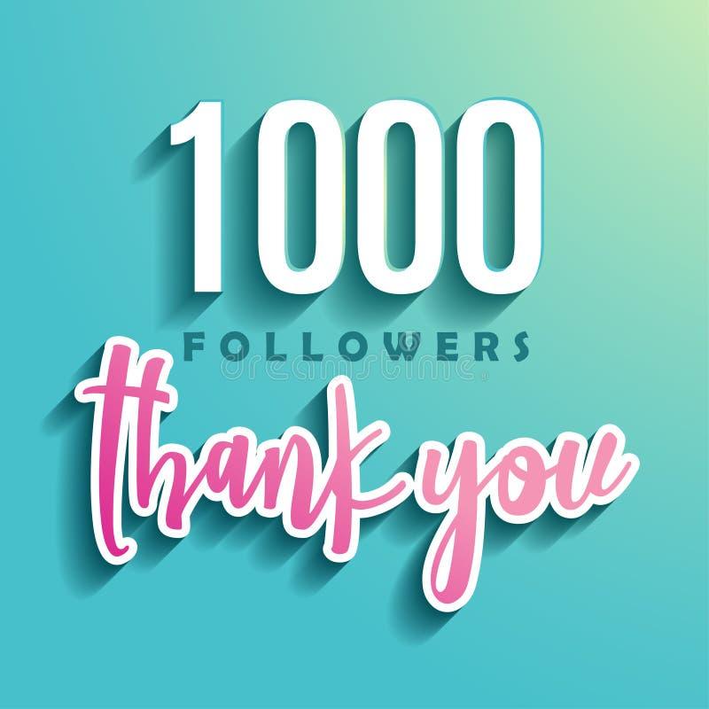 1000 disciples vous remercient - illustration pour les amis sociaux de réseau illustration stock