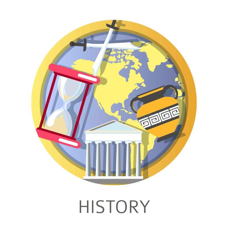 Disciplina di studio, della scuola e dell'università di storia dei periodi antichi illustrazione di stock