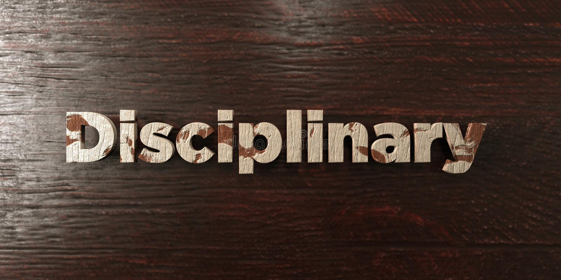Disciplinaire - grungy houten krantekop op Esdoorn - 3D teruggegeven royalty vrij voorraadbeeld royalty-vrije illustratie