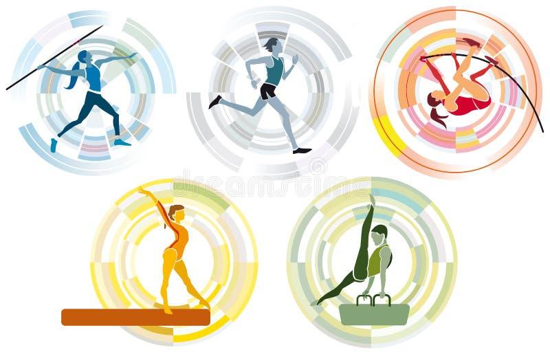 Disciplinas olímpicas dos esportes ilustração royalty free