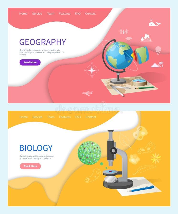Discipline de biologie à l'école, sujet de géographie illustration de vecteur