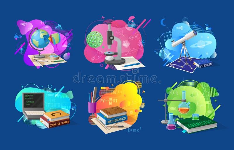 Discipliner och ämnen av uppsättningen för skolabaner vektor illustrationer