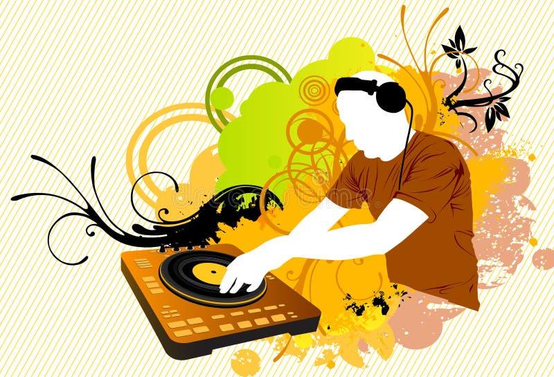 discjockey som blandar i färg stock illustrationer