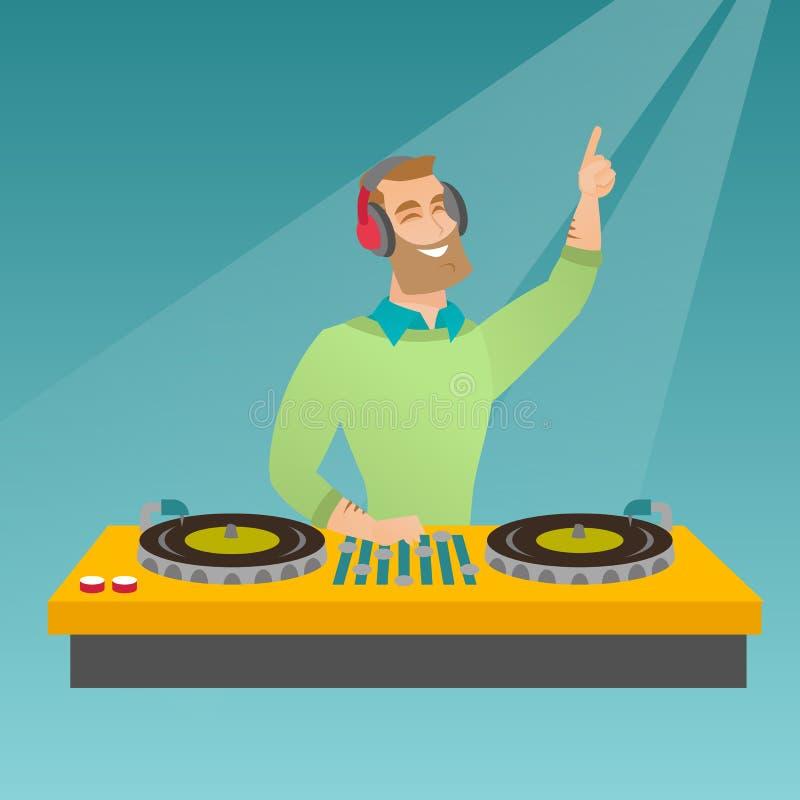 discjockey som blandar musik på skivtallrikarna stock illustrationer