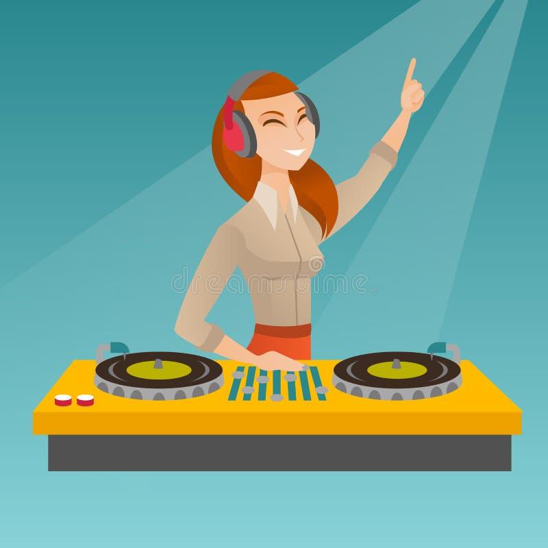 discjockey som blandar musik på skivtallrikarna royaltyfri illustrationer